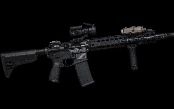Обои AR-15 полуавтоматическая винтовка, оружие, черный фон