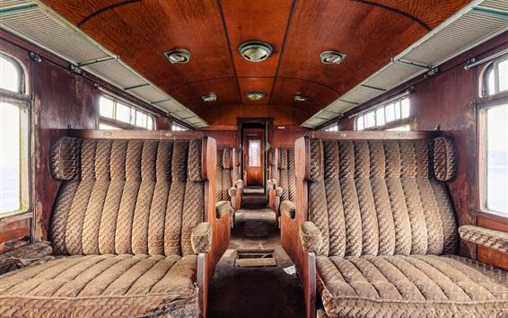 Wallpaper Abandoned train, decay, seats