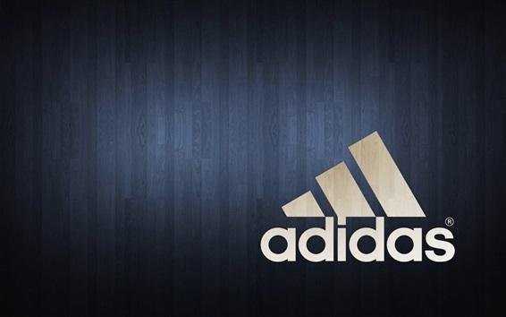 Fond d'écran Logo Adidas, fond en bois