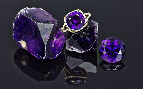 Wallpaper Amethyst, gems, ring, shine