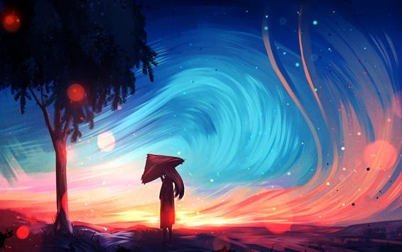 Wallpaper Art painting, girl, tree, umbrella, sky