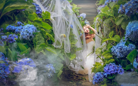 Wallpaper Asian girl, bride, blue hydrangea