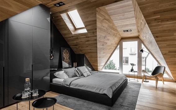 Wallpaper Attic bedroom, chair, bed, window