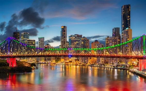 Wallpaper Australia, QLD, Brisbane River, skyscrapers, Story Bridge, lights
