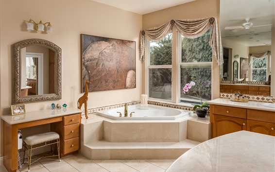 Wallpaper Bathroom, window, mirror