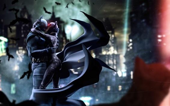 Wallpaper Batman and Catwoman, kiss, DC comics