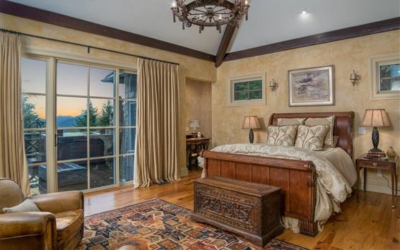 Wallpaper Bedroom, window, lights, chair, bed