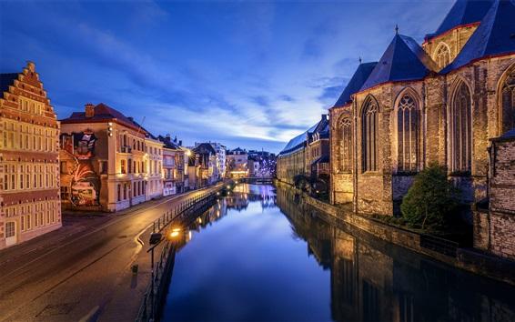 Wallpaper Belgium, Ghent, river, evening, dusk