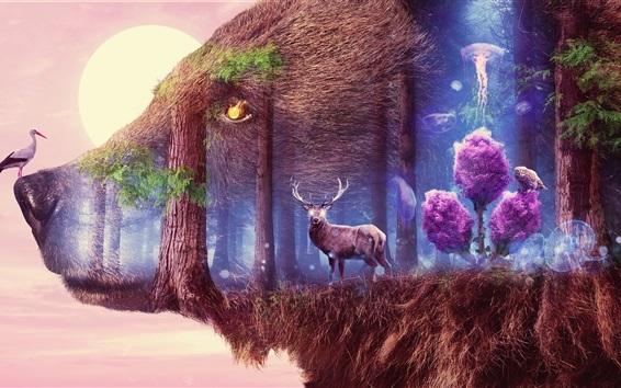 Fond d'écran Grand ours, cerf, oiseaux, forêt, lune, surréalisme, conception artistique