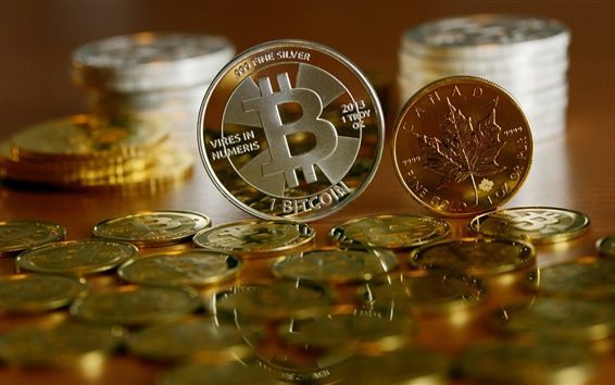 Wallpaper Bitcoin, currency, coins