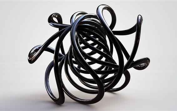 Fond d'écran Courbes noires, dessin abstrait