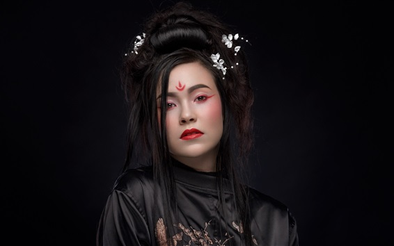 Wallpaper Black hair girl, makeup, Asian