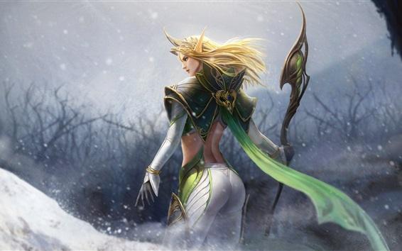 Fond d'écran Fille blonde, fantaisie, elfe, vue arrière