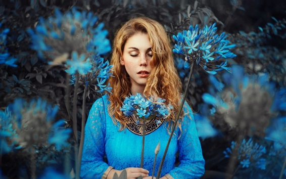 Wallpaper Blue dress girl, blonde, blue flowers, closed eyes