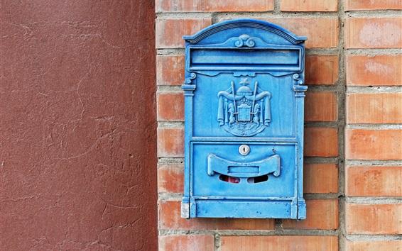 Wallpaper Blue mailbox, wall, bricks