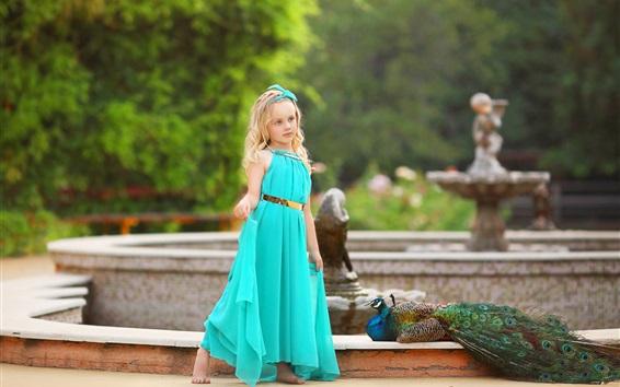 Wallpaper Blue skirt little girl, blonde, peacock