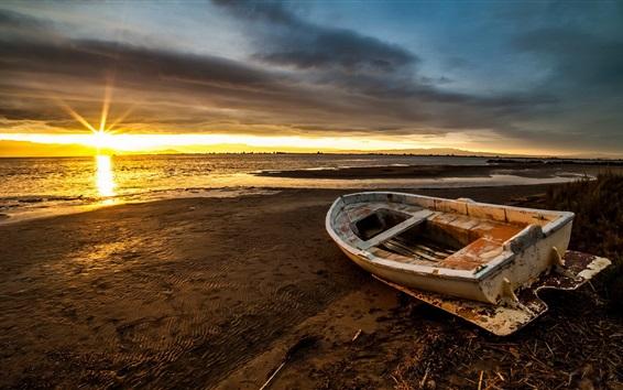 Wallpaper Boat, sea, beach, sunset, clouds