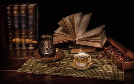 Wallpaper Books, coffee, dry flowers