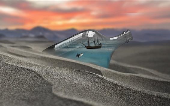 Papéis de Parede Garrafa, tubarão, navio, praia, imagem criativa