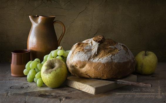 Wallpaper Bread, grapes, apple, still life