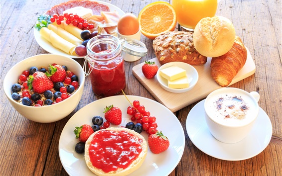 Wallpaper Breakfast, fruit, strawberry, jam, orange, muesli, coffee, bread