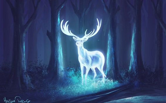 Wallpaper Bright deer in the forest, art drawing
