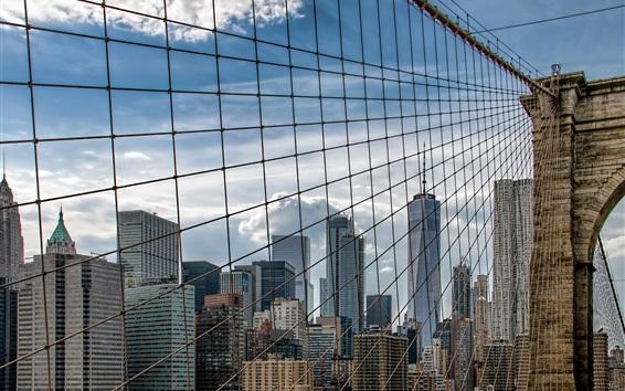 Wallpaper Brooklyn Bridge, New York, USA, skyscrapers