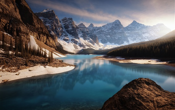 Wallpaper Canada, mountains, snow, forest, lake, nature landscape
