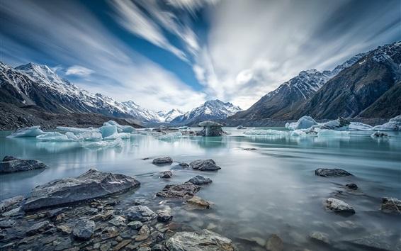 Fond d'écran Canterbury, Nouvelle-Zélande, Mont Cook, rivière, glace, hiver