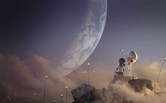 Wallpaper Child girl and robot look at Earth, creative picture
