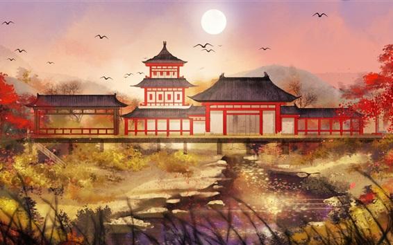 Fond d'écran Parc de style rétro chinois, dessin d'art