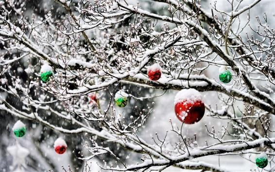 Wallpaper Christmas balls, tree, decoration, snow, winter