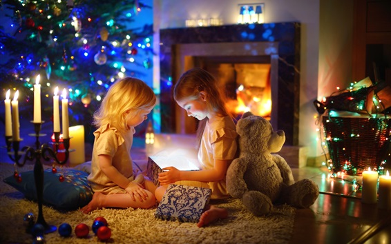Wallpaper Christmas, happy little girls, gifts, lights