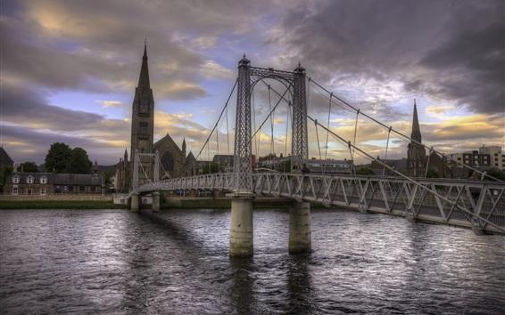 Обои Город, мост, река, церковь, облака, сумерки