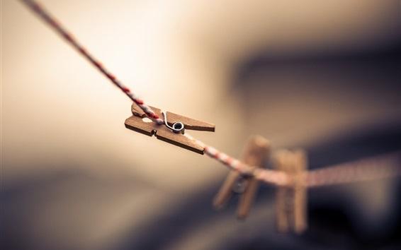 Обои Прищепки, веревка, боке