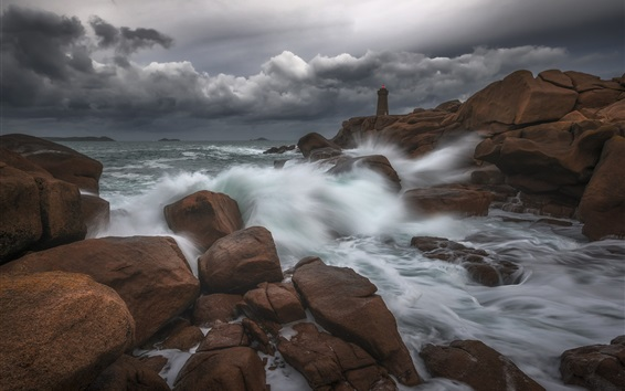 Wallpaper Coast, sea, rocks, lighthouse