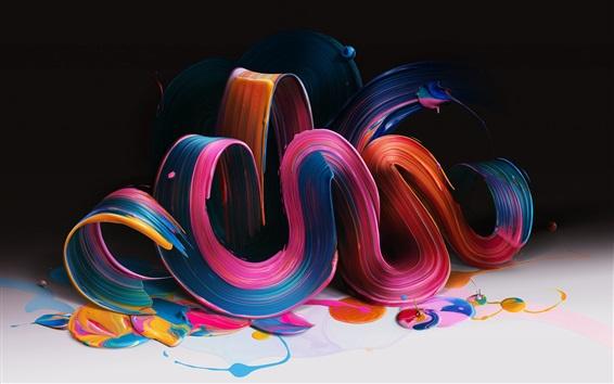Обои Красочные кривые изгиба, краска, объем, реферат