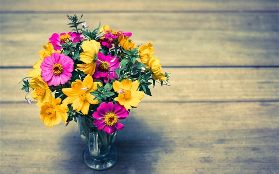 Wallpaper Colorful flowers, yellow and pink, petals, vase