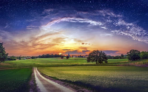 Wallpaper Countryside, fields, village, trees, clouds, sky, stars, sunset