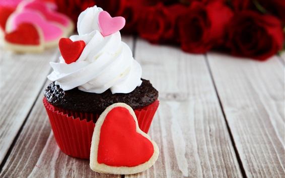 Hintergrundbilder Cupcake, Sahne, Liebesherz