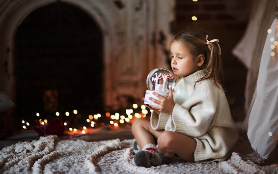 Wallpaper Cute little girl, wishes, sweater, New Year