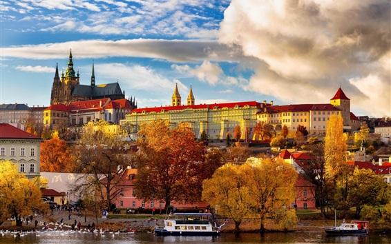 Papéis de Parede República tcheca, praga, árvores, rio, barcos, edifícios, outono