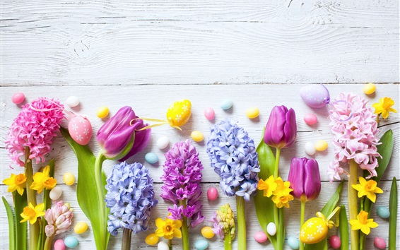 Wallpaper Daffodils, hyacinths, tulips, colorful eggs, Easter