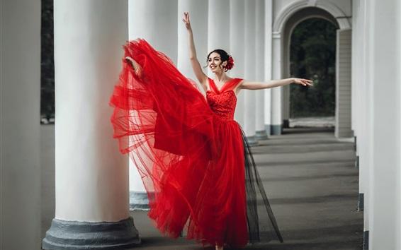 Fond d'écran Danseuse, jupe rouge, heureux