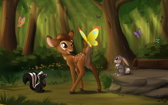 Fond d'écran Deer Bambi, papillon, lapin, film d'anime