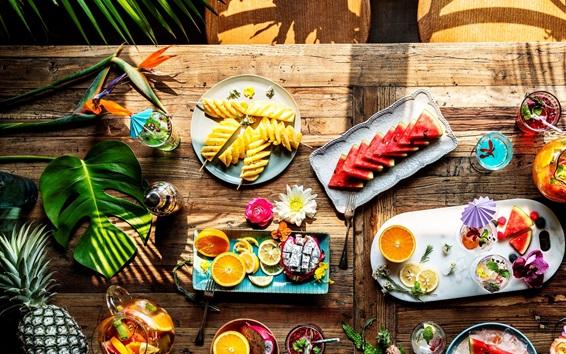 Обои Вкусные ломтики фруктов, арбуз, апельсин, ананас, питая