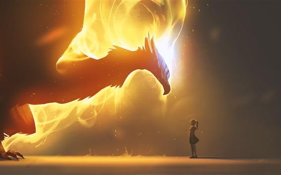 Wallpaper Dragon, wings, fire, girl, fantasy art picture