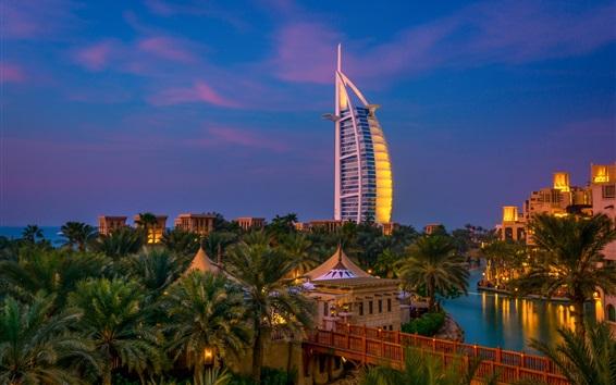 Fond d'écran Dubaï, nuit, ville, arbres, rivière, villa