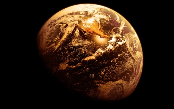 Wallpaper Earth, golden style