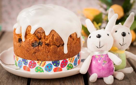 배경 화면 부활절, 케이크, 토끼 완구
